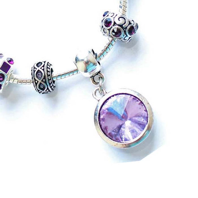 Children's 'June Birthstone' Amethyst Colored Crystal Silver Plated Charm Bead Bracelet