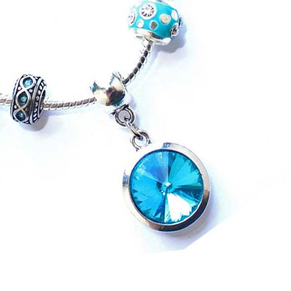 Teenager's 'March Birthstone' Aqua Colored Crystal Silver Plated Charm Bead Bracelet