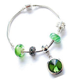 Teenager's 'May Birthstone' Emerald Colored Crystal Silver Plated Charm Bead Bracelet