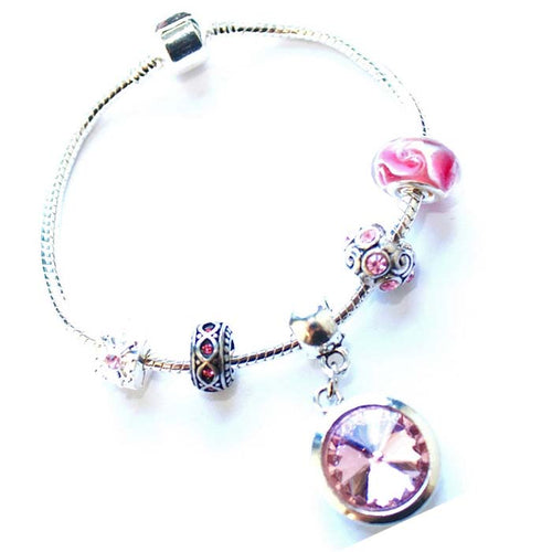 Adult's 'October Birthstone' Rose Colored Crystal Silver Plated Charm Bead Bracelet