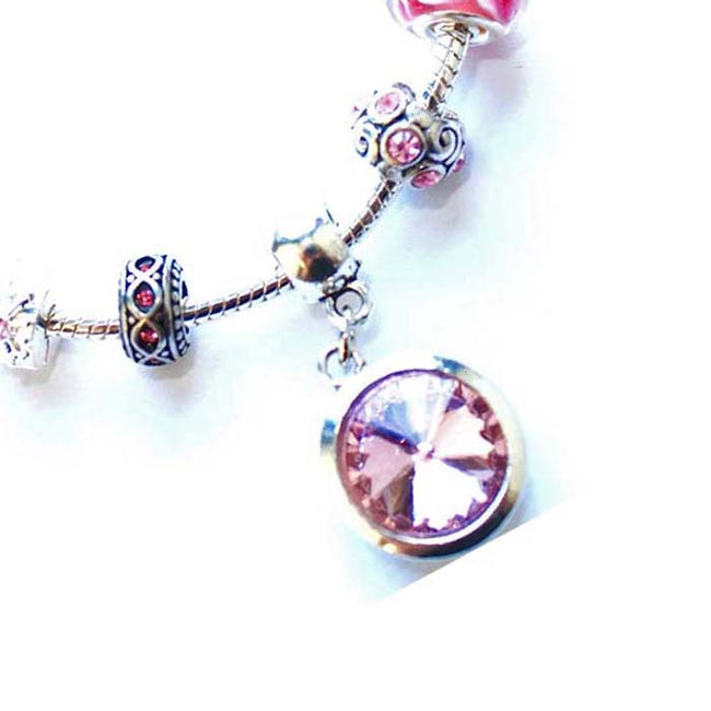 Teenager's 'October Birthstone' Rose Colored Crystal Silver Plated Charm Bead Bracelet