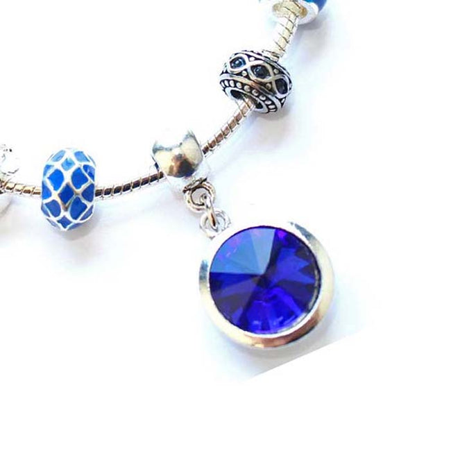 Teenager's 'September Birthstone' Sapphire Colored Crystal Silver Plated Charm Bead Bracelet