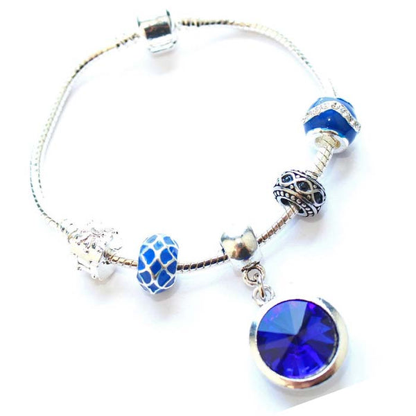 Adult's 'September Birthstone' Sapphire Colored Crystal Silver Plated Charm Bead Bracelet