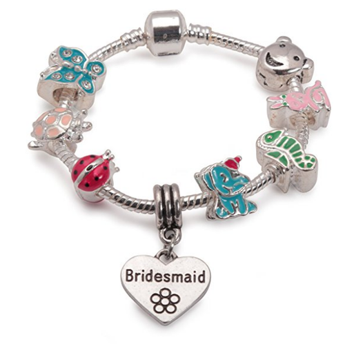 Children's Bridesmaid 'Animal Magic' Silver Plated Charm Bead Bracelet