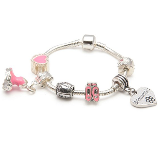 Children's Bridesmaid 'Love To Dance' Silver Plated Charm Bead Bracelet