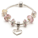 Adult's Bridesmaid 'Vanilla Kisses' Silver Plated Charm Bead Bracelet