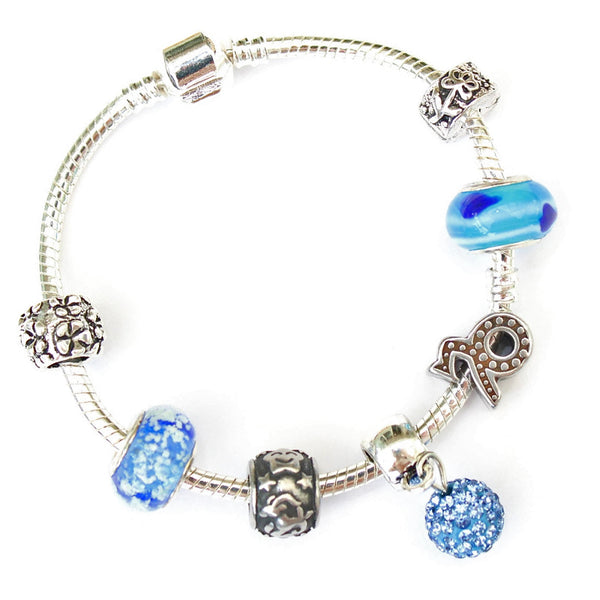 Adult's Capricorn 'The Mountain Goat' Zodiac Sign Silver Plated Charm Bracelet (Dec 22-Jan 19)