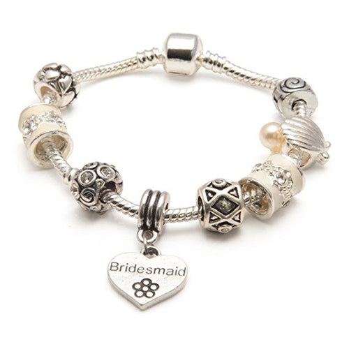 Adult's Bridesmaid 'Cascade Cream' Silver Plated Charm Bead Bracelet