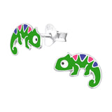 Children's Sterling Silver Chameleon Stud Earrings