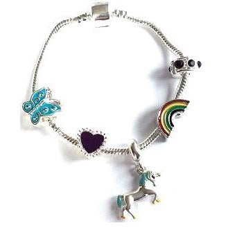 Magical Unicorn Silver Plated Charm Bracelet For Girls