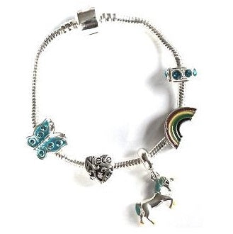 Children's Niece 'Magical Unicorn' Silver Plated Charm Bead Bracelet