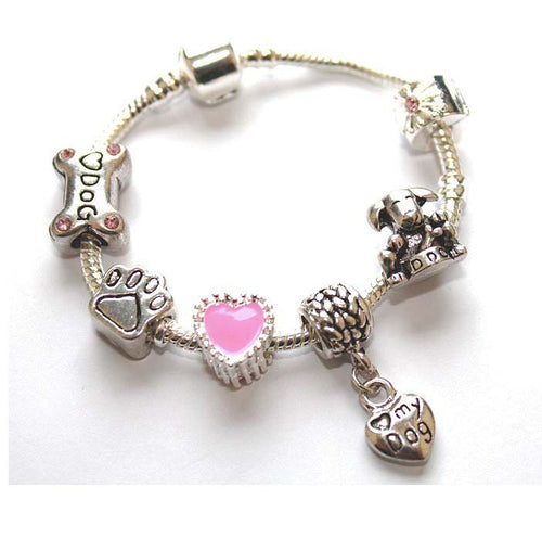 Children's 'Love My Dog' Silver Plated Kids Bracelet