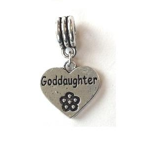 Silver Plated Goddaughter Heart Drop Charm