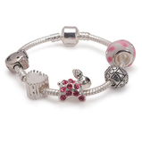 Children's Pink Easter 'Bunny Dream' Silver Plated Charm Bead Bracelet