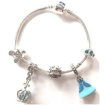Blue Fairytale Princess Silver Plated Charm Bracelet For Girls