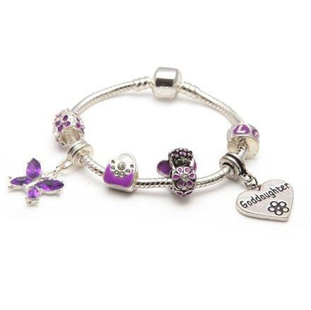 Children's Goddaughter 'Purple Fairy Dream' Silver Plated Charm Bead Bracelet