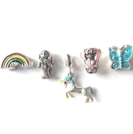 Set of 5 Silver Plated Fantasy Themed Charms and Beads