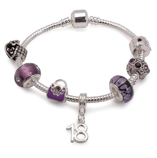 Purple fleur 18th charm bracelet are great 18th birthday gifts ideas for girls