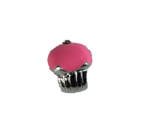 Silver Plated Pink Enamel Cupcake Charm