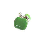 Silver Plated Green Enamel Apple Charm