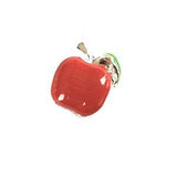 Silver Plated Red Enamel Apple Charm