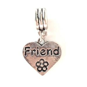 Silver Plated Friend Heart Drop Charm