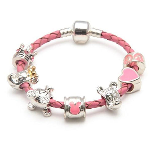 Fairytale Dreams Pink Leather Charm Bracelet For Girls