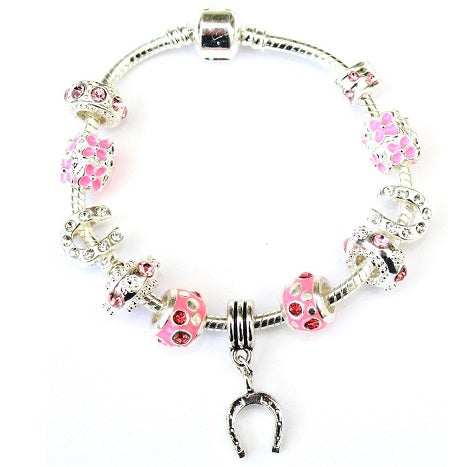 Teenagers 'Pink Sparkle Good Luck Horseshoe' Silver Plated Charm Bracelet