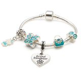 Granddaughter Blue cat charm bracelet
