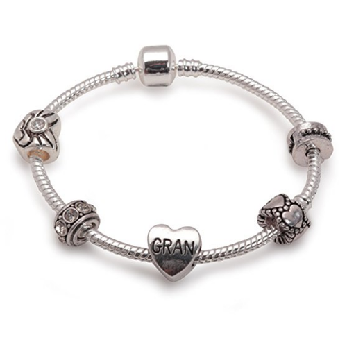 Gran 'Silver Romance' Silver Plated Charm Bead Bracelet