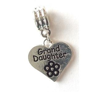 Silver Plated Granddaughter Heart Drop Charm