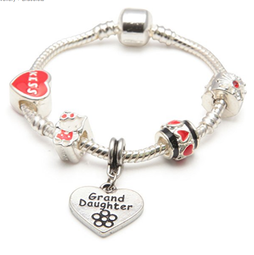 Children's Granddaughter 'Red Kitty Cat' Silver Plated Charm Bead Bracelet