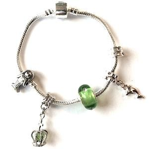 Green Fairytale Mermaid Silver Plated Charm Bracelet For Girls
