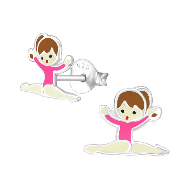 Children's Sterling Silver Gymnastics Girl with Dark Pink Leotard  Stud Earrings