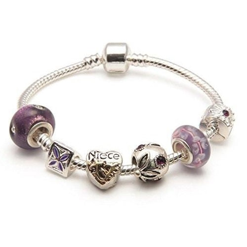 Adult's Niece 'Purple Haze' Silver Plated Charm Bead Bracelet