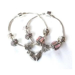 Adult's Daughter 'Half Heart Pink Sparkle' Silver Plated Charm Bracelet
