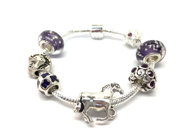 Children's 'Horse Lovers Dream' Silver Plated Charm Bead Bracelet