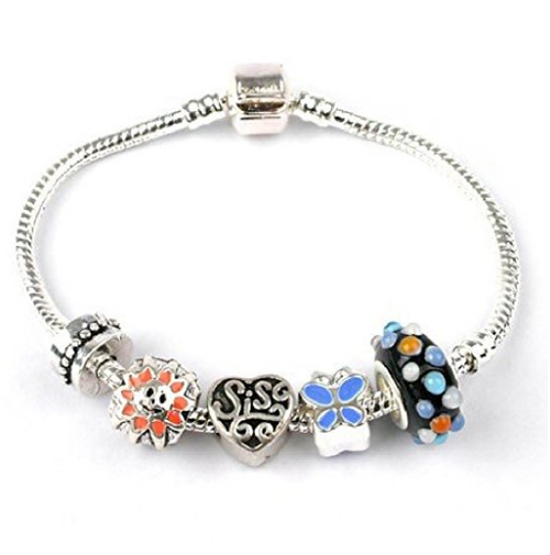 Adult's Sister 'Jazz It Up' Silver Plated Charm Bead Bracelet