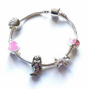 Children's 'Mythical Mermaid' Silver Plated Charm Bead Bracelet