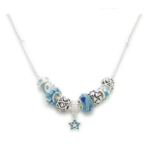 Silver Plated 'Misty Blue' Charm Bead Necklace