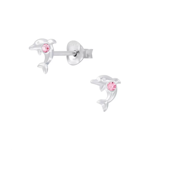 Children's Sterling Silver 'October Birthstone' Dolphin Stud Earrings