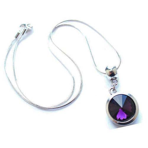 Silver Plated 'February Birthstone' Amethyst Colored Crystal Pendant Necklace