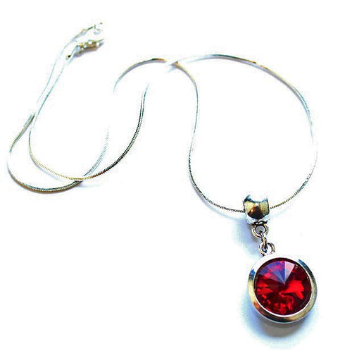 Silver Plated 'July Birthstone' Ruby Colored Crystal Pendant Necklace