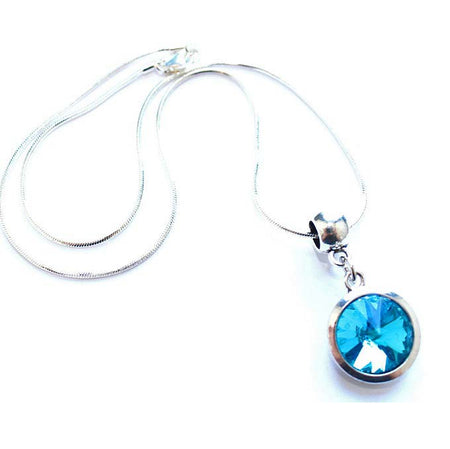 Silver Plated 'May Birthstone' Emerald Colored Crystal Pendant Necklace