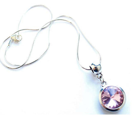 Silver Plated 'January Birthstone' Garnet Colored Crystal Pendant Necklace