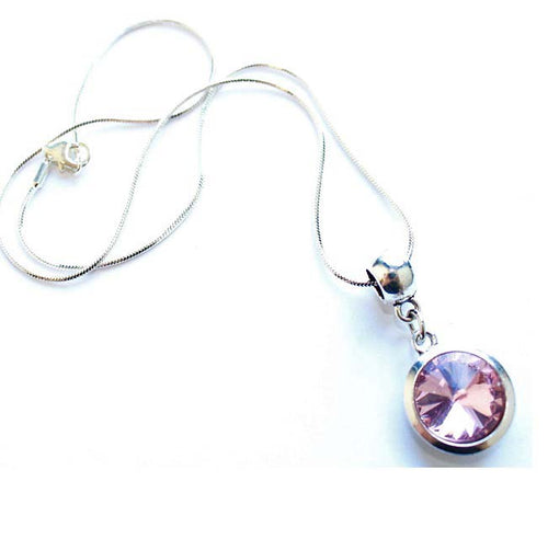 Silver Plated 'October Birthstone' Rose Colored Crystal Pendant Necklace