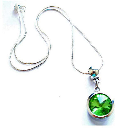Silver Plated 'December Birthstone' Turquoise Colored Crystal Pendant Necklace
