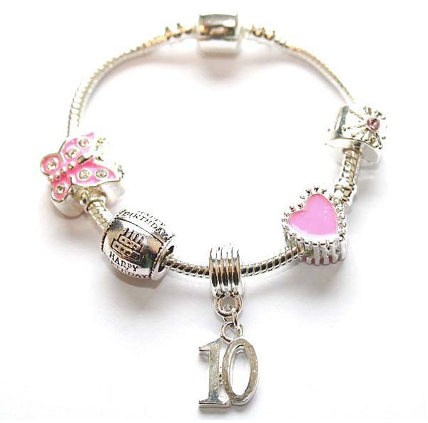 Children's Pink 'Happy 10th Birthday' Silver Plated Charm Bead Bracelet
