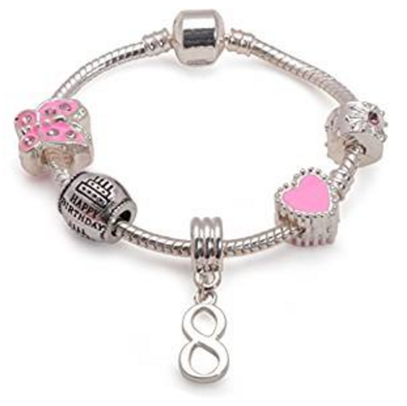 kid bracelet for 8 year old girls. A gift for 8 year old girl. Pink Bracelet