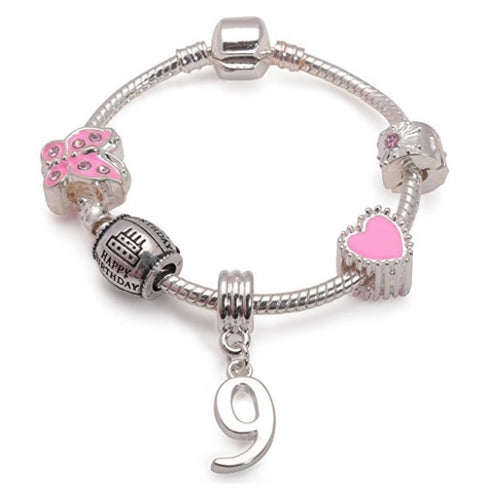 kid bracelet for 9 year old girls. A gift for 9 year old girl. Pink Bracelet